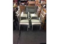 Cream Wrought Iron Glass Table & 4 Iron Chairs