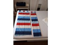 Striped red white and blue curtains