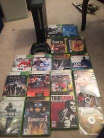 Black Xbox 360 elite console and games