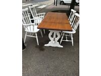 SOLID WOOD UP CYCLED TABLE AND 4 CHAIRS 2 OF WHICH ARE CARVERS VGC