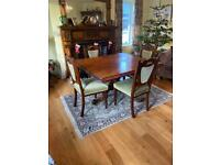 Mahogany table and chair set