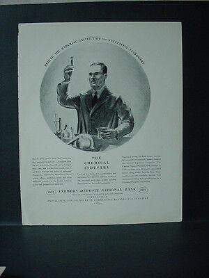 1934 Farmers Deposit National Bank Chemical Industry Vintage Print Ad 11601