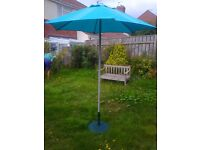 GARDEN PATIO SUNSHADE IN DUCK EGG BLUE - COMPLETE WITH HEAVY STAND - ALMOST NEW