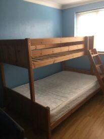Solid Wood Triple Bunk Bed with small double mattress