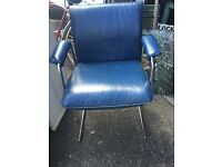 Retro Vintage 1970s leather and chrome chair