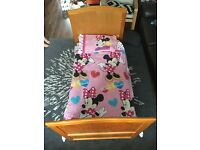 Cot Bed with matteress, duvet, x2 duvet covers