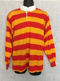"Stripe Rugby Shirt Polo Mens Long Sleeve Sport Top Size 38/40"" Chest #4719"