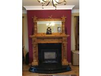 Pine Fireplace with matching Pine Mirror
