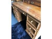 Solid oak 7 draw desk