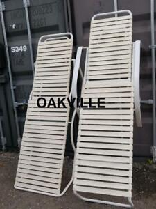 Aluminum LOUNGERS  $75 EACH  Lounge Chairs White Oakville Outside Outdoor Patio Balcony Sunning Metal Good Quality