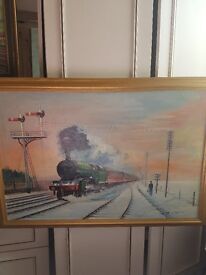 Two quality railway oil paintings bargain