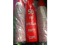 Red American Party Cups 50