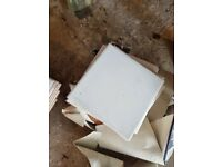White ceramic tiles in boxes