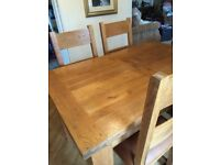 """French oak 4 seater 4""""6 extending table and chairs"""