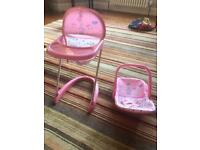 Doll/ baby high chair and car seat