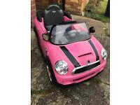 Mini Cooper ride on electric car - pink