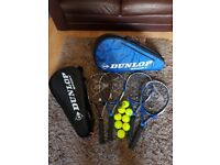 Dunlop Biomimetic Tennis Rackets, 6 Racket Dunlop Bag plus Individual Carry Bagsand 8 New balls