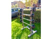 Jordan Barbell Rack, 5 Bars + (2x5kg dumbbells)