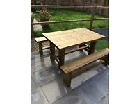 Solid hand made garden table and benches