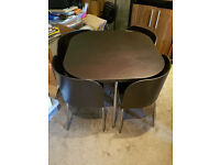 Ikea Fusion Compact Hideway Dark Brown Dining Table & 4 Chairs