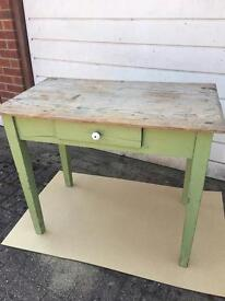Old pine top table with drawer