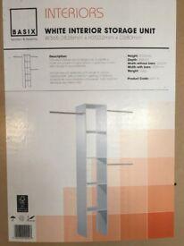 Basix white interior storage unit/sliding wardrobe storage unit