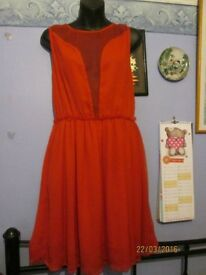 BEAUTIFUL SHEER FLOWING RED DRESS SIZE 10 BY TOP SHOP NEW RRP £38 PARTY OR WEDDING