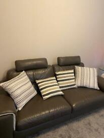 3 seater grey leather sofa. Great condition