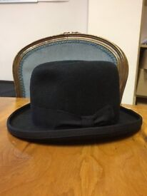 New Black Bowler Hat 56cm 100% wool, Hand Made