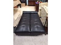 Black leather Sofabed