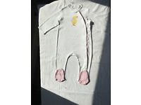 BabyGirl's fullbody Baby Grow,white with DUCK LOGO,100% cotton,size 18-24 months