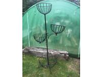 Large black metal plant vegetable stand hanging basket garden plant holder pot