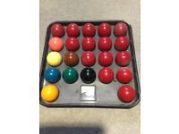 Set of snooker balls.
