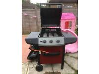 3 burner gas bbq with cover and gas adapter
