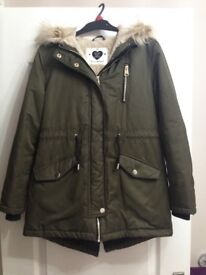 Girls Khaki Green Coat with lovely fur hood age 10-11 yrs