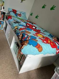 White mid sleeper storage bed