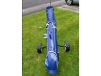Wilson golf clubs, carry bag and wheeled trolley