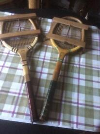 Two vintage tennis rackets