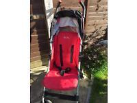 Red silver crest stroller