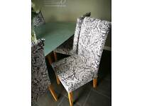 Glass/glitter dining table and 6 chaird