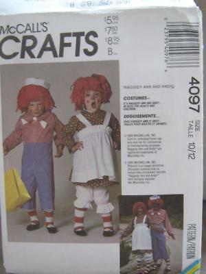 McCall's #4097 Sewing Pattern Raggedy Ann & Andy Costumes Children Size - Andy Costumes