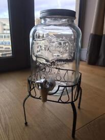 Vintage drinks dispenser + stand (4litres) new with box