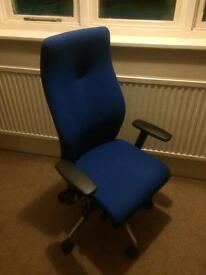 Blue swivel office chair with lumbar support