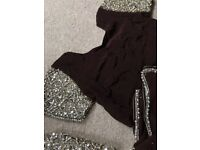 Chocolate brown sari embroidered with pearls and gems. Free petticoat