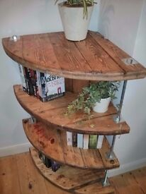Upcycled cable reel corner bookcase