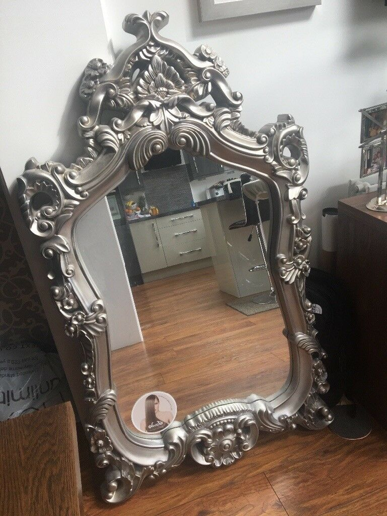 Extra Large Silver Ornate Mirror In Liverpool