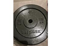 Bodymax castiron plates 15kg 1inch new gym weights fitness equipment