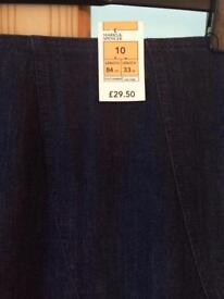 M&S size 10 Denim Skirt BNWT
