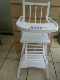 Combelle White Wood Highchair - Converts into A Low Chair And Table