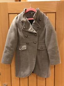 Girls smart grey military coat aged 8-9 years